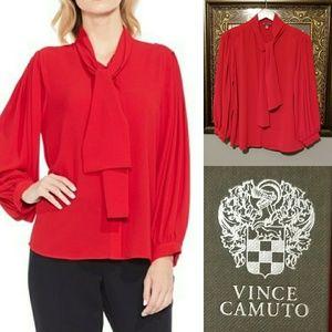 Vince Camuto crimson tie neck blouse NWT